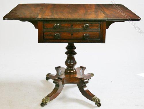 Geog 1v Mahogany 2 Drawer Pedestal Drop Leaf Table