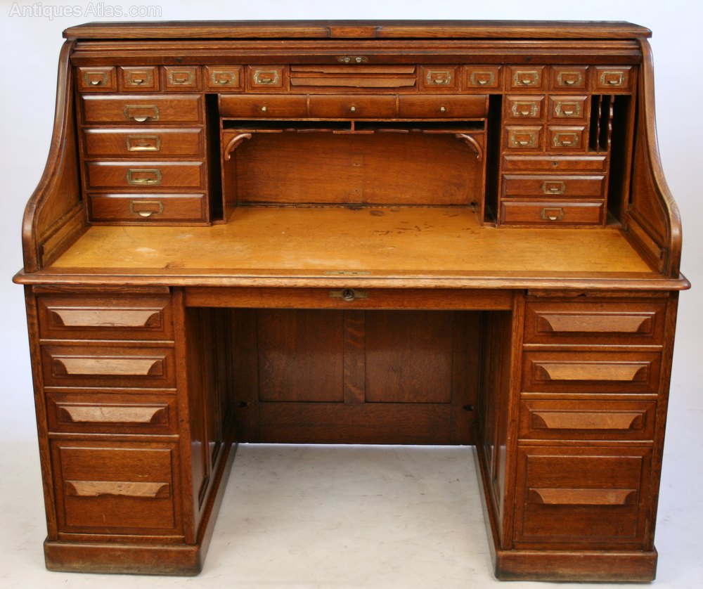 Late 19c Oak Roll Top Desk By Cutler Of Buffalo Ny