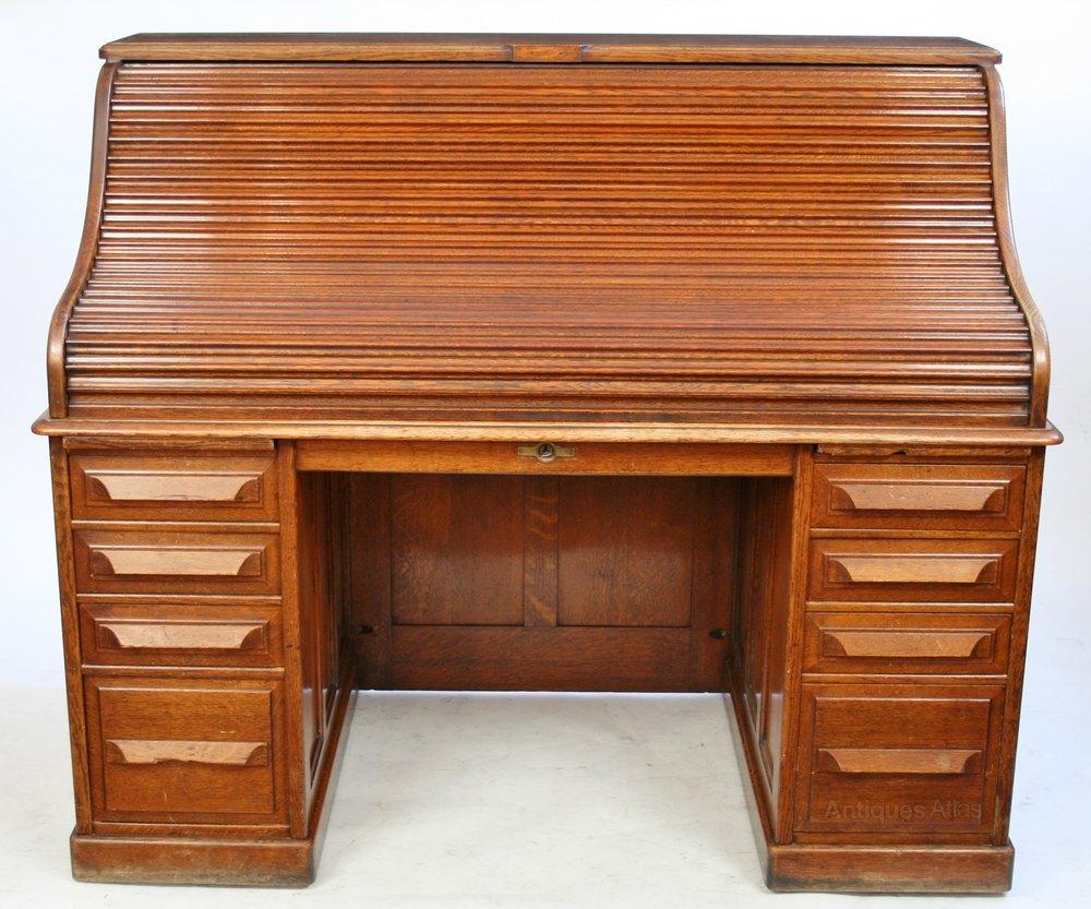 Late 19c Oak Roll Top Desk By Cutler Of Buffalo Ny