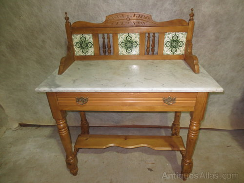 antique marble top washstand Pine Marble Top Washstand   Antiques Atlas antique marble top washstand