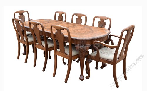 1920 S Burr Walnut Dining Table 8 Chairs Antiques