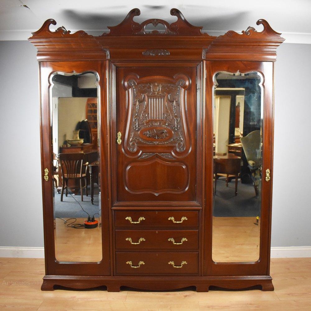 Armoires & Wardrobes Reasonable Fine 19th Century Mahogany 4 Door Wardrobe