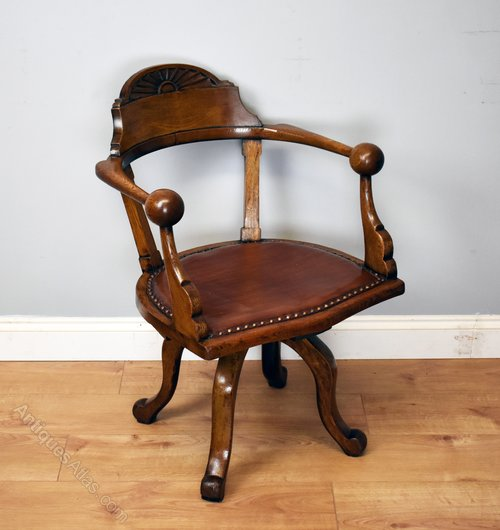 & 19th Century Victorian Solid Oak Desk Chair - Antiques Atlas