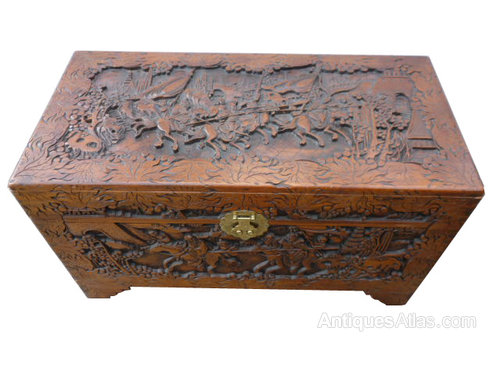 20th Century Chinese Carved Camphor Wood Chest Antiques