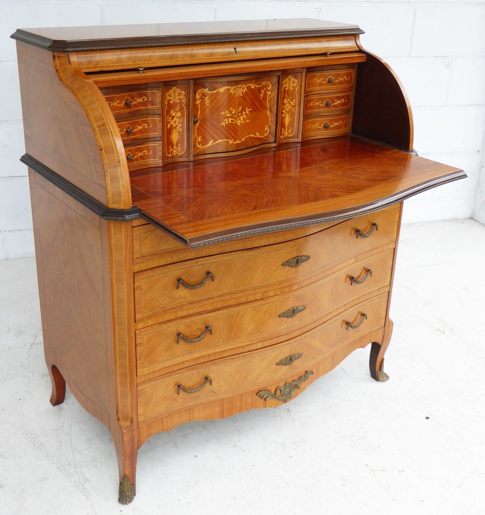 antiques atlas 20th century walnut cylinder top bureau. Black Bedroom Furniture Sets. Home Design Ideas