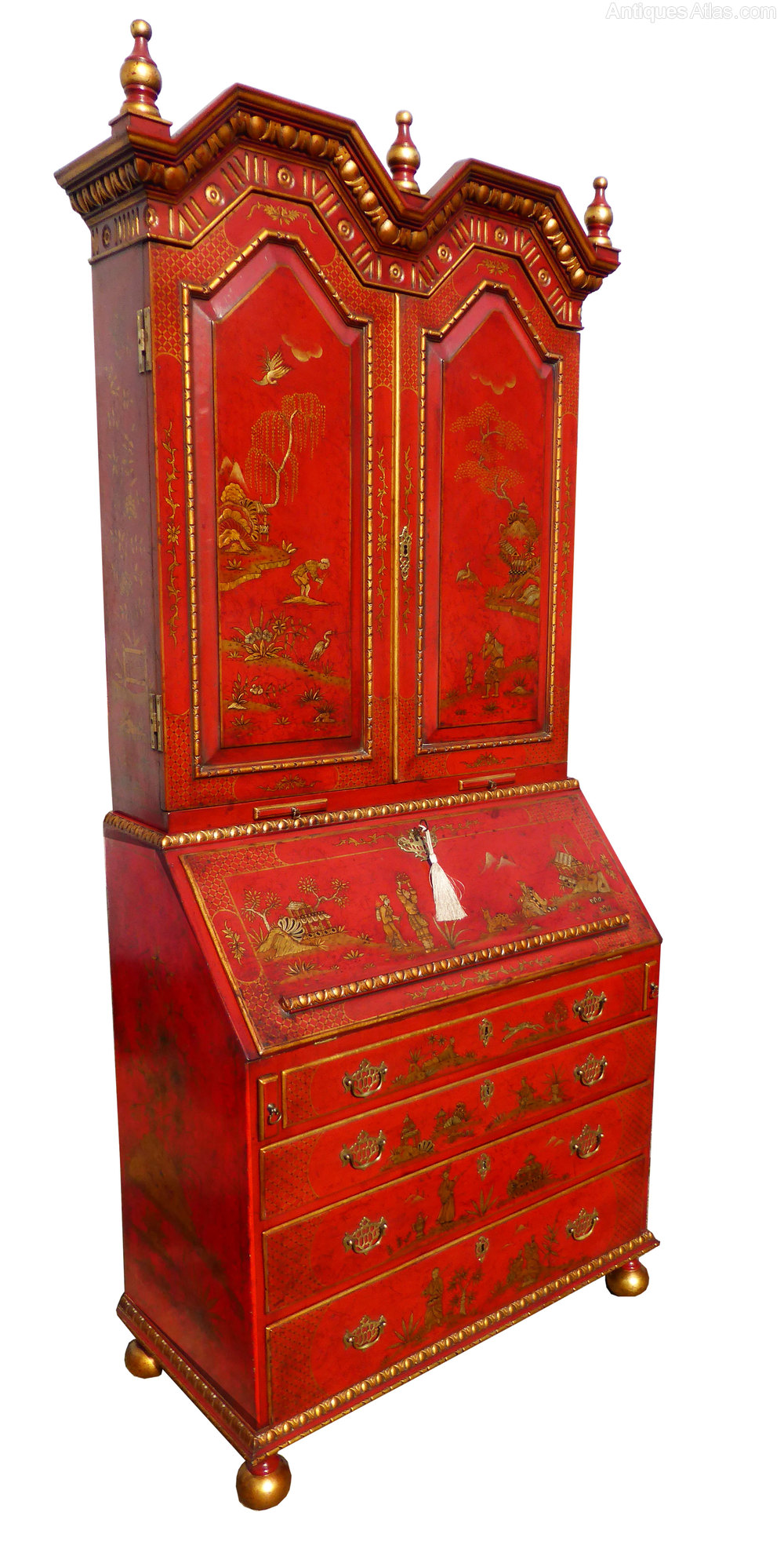 Antique Chinoiserie Bureau Bookcase ... - Antique Chinoiserie Bureau Bookcase - Antiques Atlas
