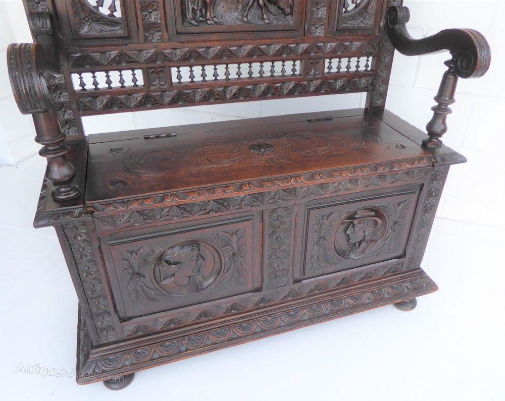 Breton High Back Carved Oak Bench Seat Settle Antiques Atlas