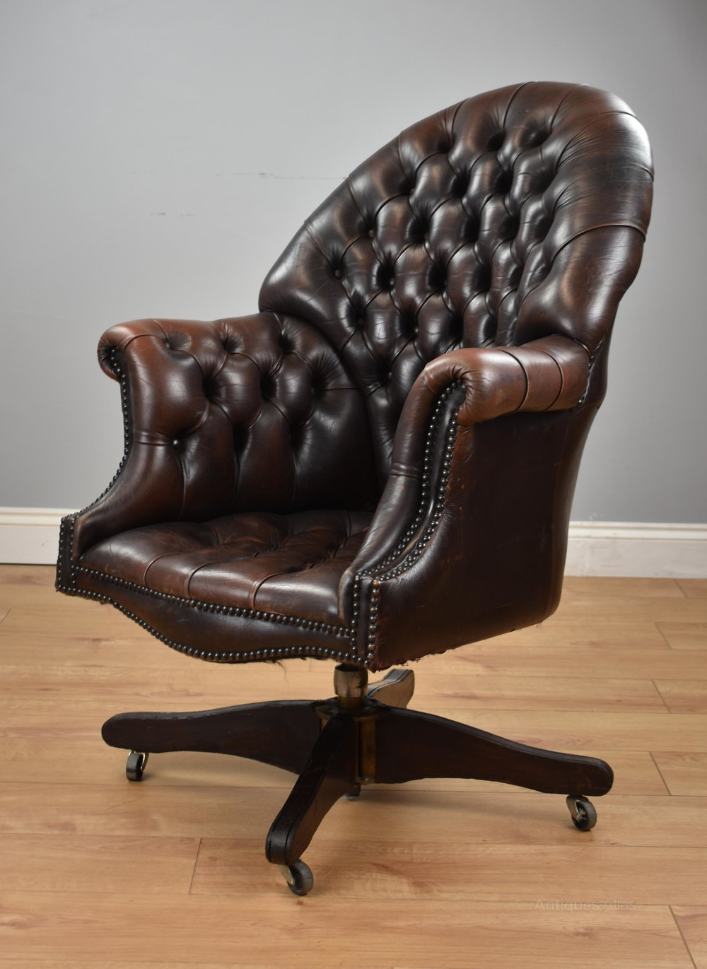 Prime Brown Leather Swivel Office Desk Chair Download Free Architecture Designs Sospemadebymaigaardcom