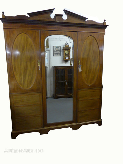 Antiques Edwardian Satinwood And Birdseye Maple Wardrobe Armoires/wardrobes