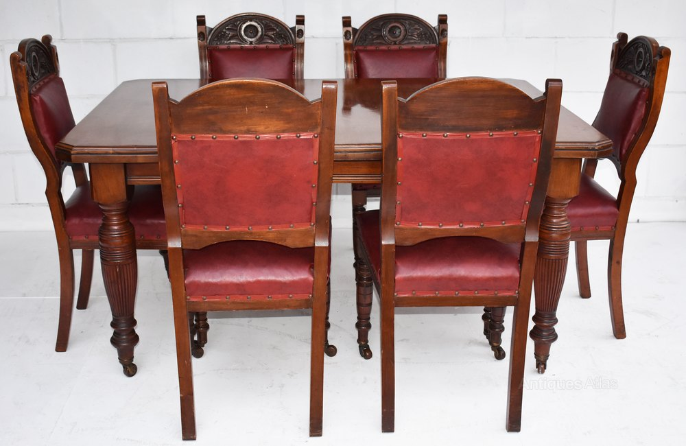 Edwardian Walnut Dining Table 6 Chairs Antiques Atlas