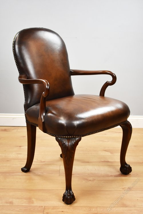 Strange Georgian Style Hand Dyed Leather Desk Chair Antiques Atlas Machost Co Dining Chair Design Ideas Machostcouk