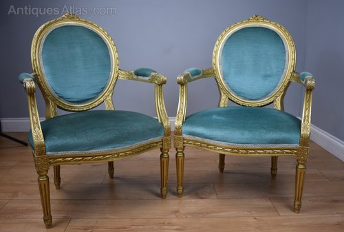 Antiques Atlas Pair Of French Style Gilt Armchairs