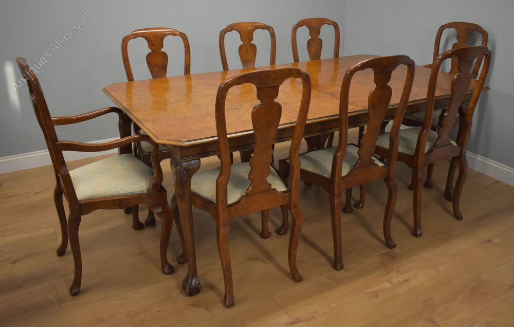 Queen Anne Style Burr Walnut Table 8, Queen Anne Style Dining Room Table