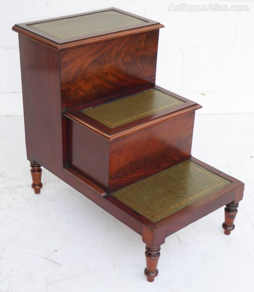 Regency Flame Mahogany Library Step Commode Antiques Atlas