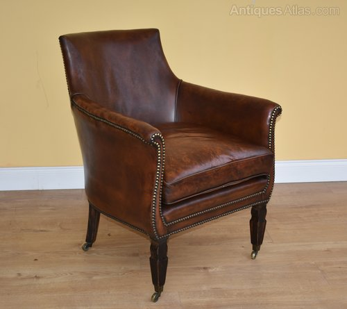Regency Mahogany And Leather Library Chair