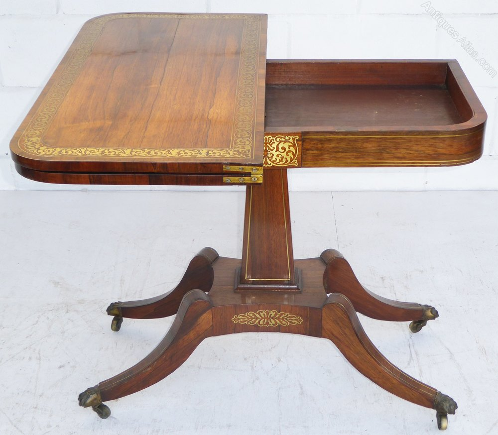 Antique card table regency card table inlaid card table antique - Regency Rosewood Brass Inlaid Card Table Antique Card Tables