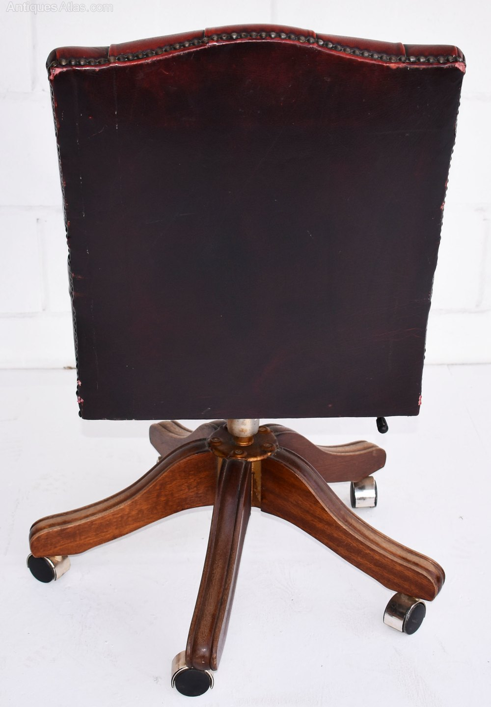 Antiques Atlas Vintage Ox Blood Red Leather Desk Chair