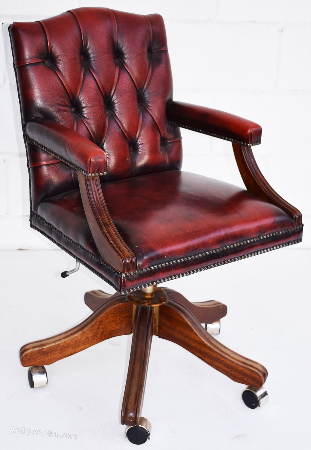 Vintage Ox Blood Red Leather Desk Chair ...