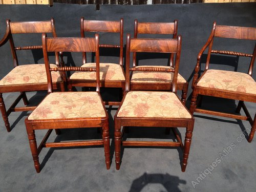 6 Regency Mahogany Chairs Including 2 Carvers ...