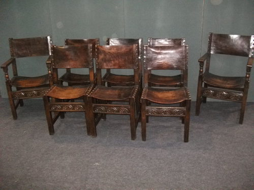 8 Oak And Leather Dining Chairs Antiques Atlas
