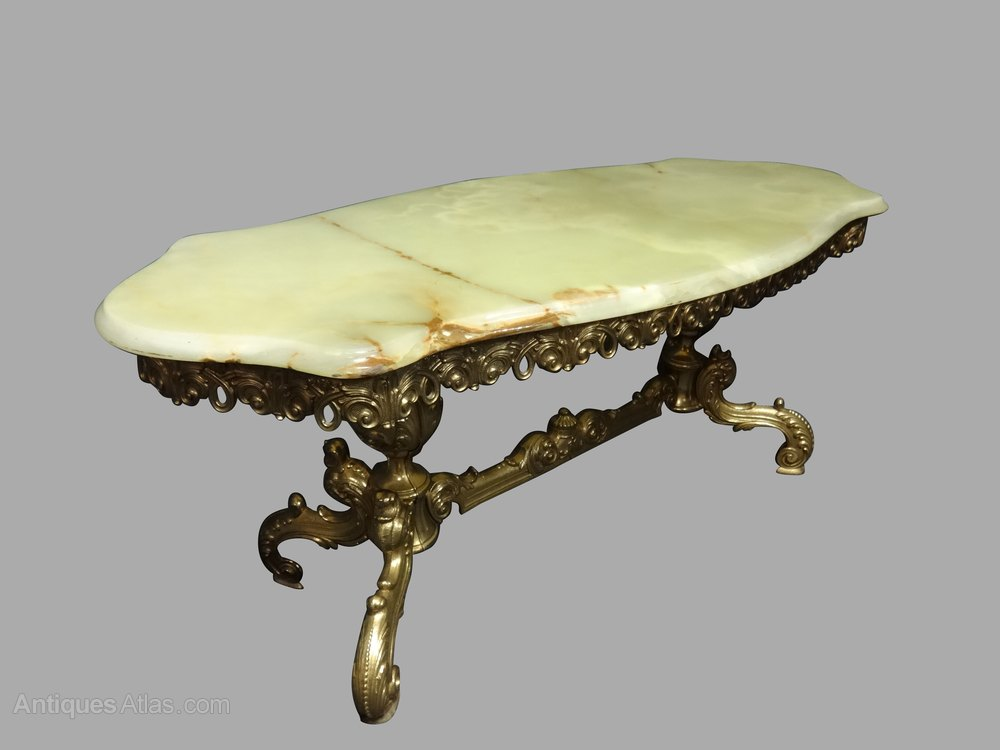 brass and onyx coffee table antiques atlas. Black Bedroom Furniture Sets. Home Design Ideas