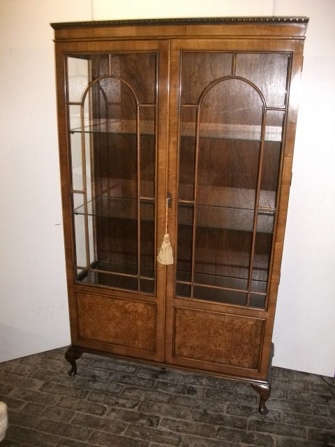Burr Walnut Display Cabinet