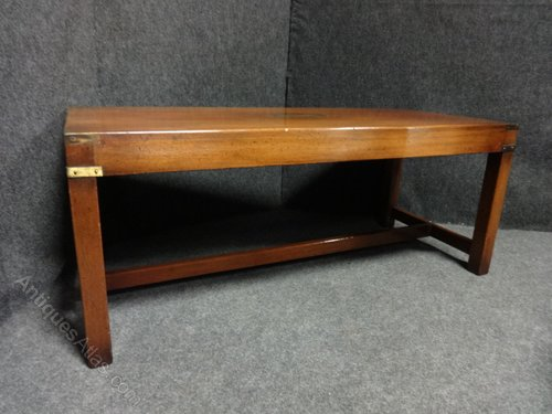 Nice Campaign Mahogany Coffee Table Antique Coffee Tables