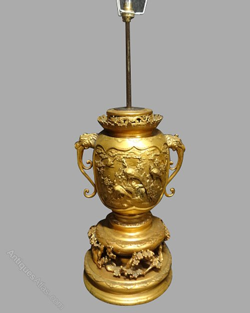 Antiques atlas large gilt bronze japanese meiji period table lamp large gilt bronze japanese meiji period table lamp aloadofball Images