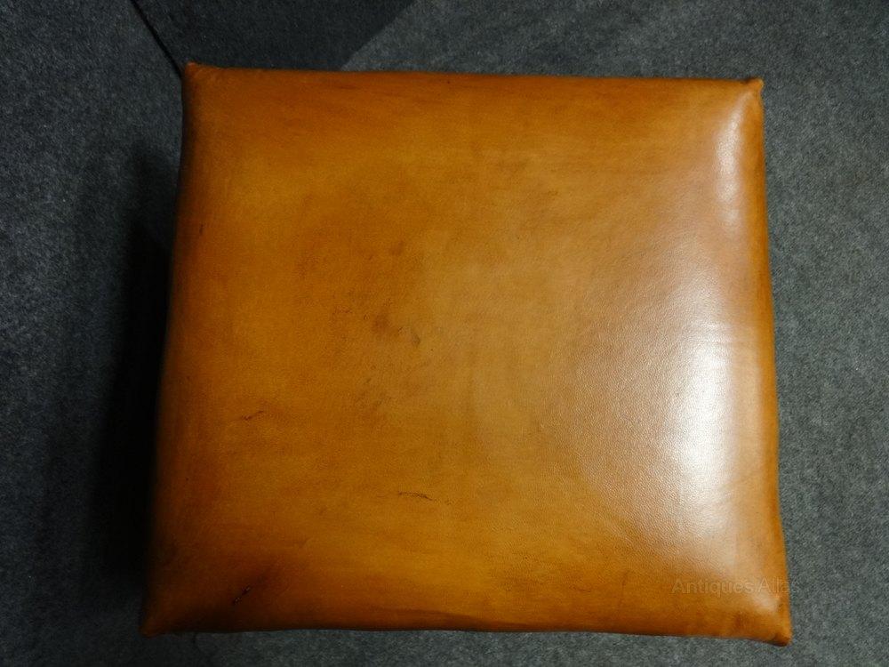 Ottomans Ornate Mahogany Ottoman: Leather Topped Victorian Mahogany Ottoman
