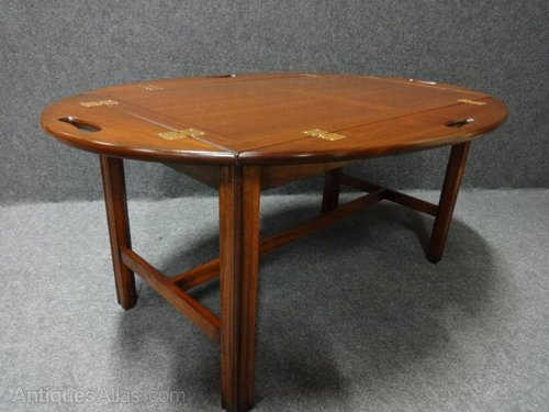 Vintage Antique Tray Tables MAHOGANY COFFEE TABLE LOW TABLE BUTLERS TRAY alt