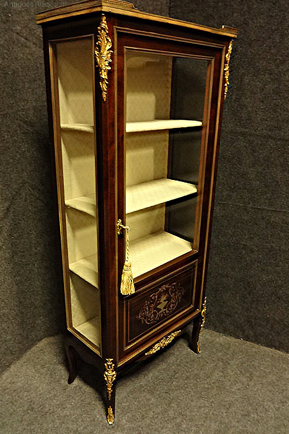 Mahogany and brass inlaid display cabinet vitrine for Sideboard vitrine