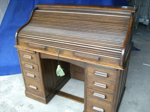 Oak s shaped roll top bureau antiques atlas