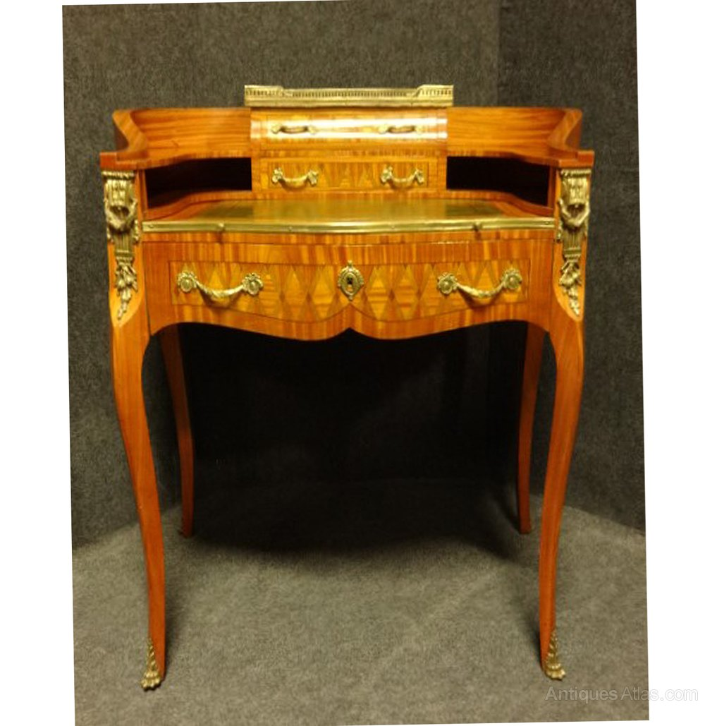 Outstanding Parquetry French Ladies Writing Desk Antique Writing Desks ... - Outstanding Parquetry French Ladies Writing Desk - Antiques Atlas