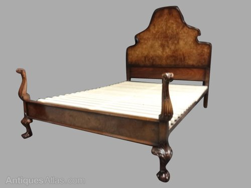Elegant Queen Anne Burr Walnut Double Bed