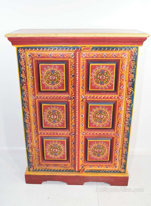 Vintage Hand Painted Indian Cabinet, Hand Painted Cabinet Indian