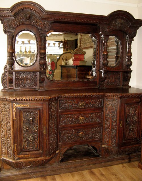 Victorian gothic carved sideboard buffet cabinet