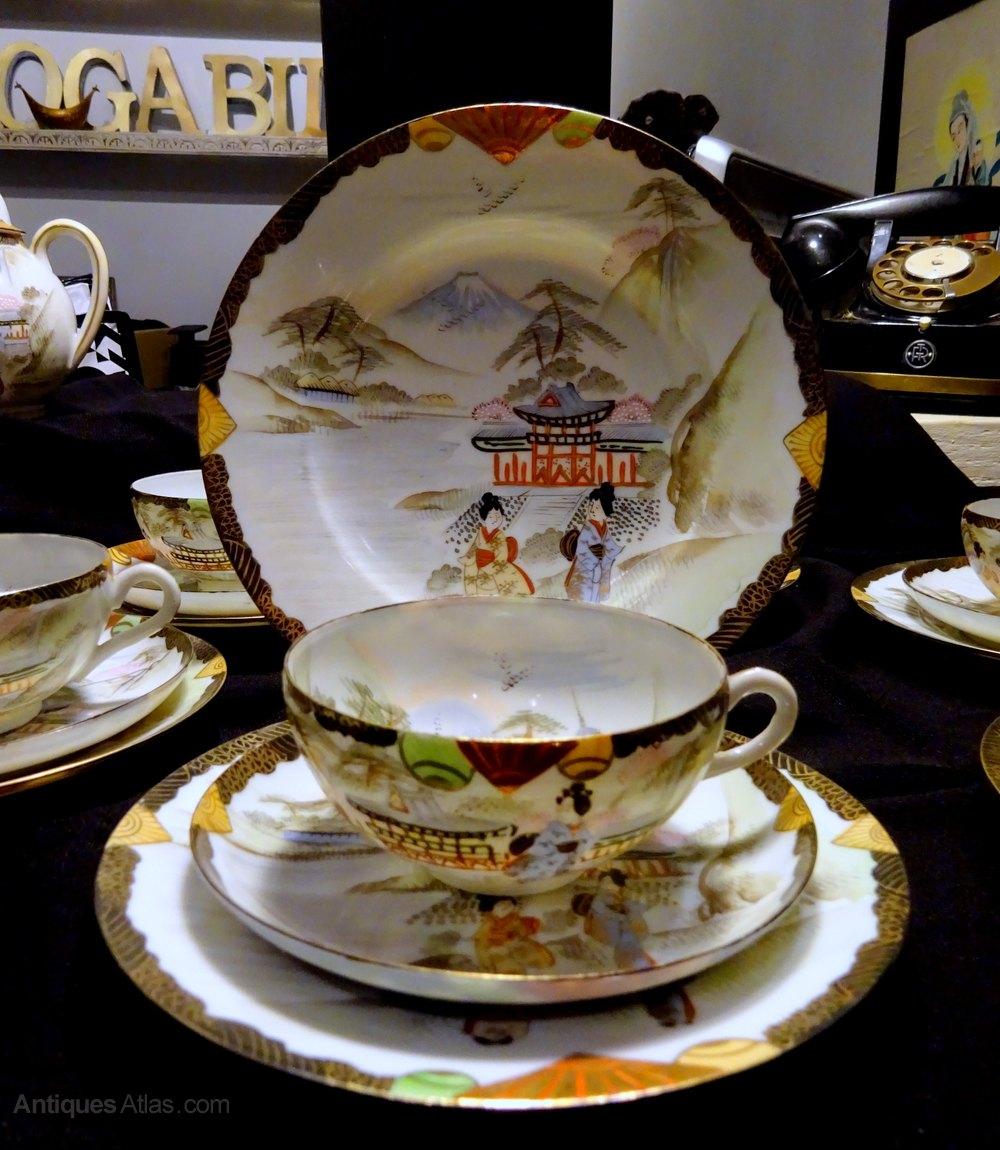 Eggshell Porcelain Tea Cup /& Saucer JapaneseHand Painted Asian Antique