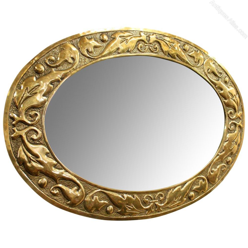 Art Nouveau Oval Brass Embossed Mirror Antique
