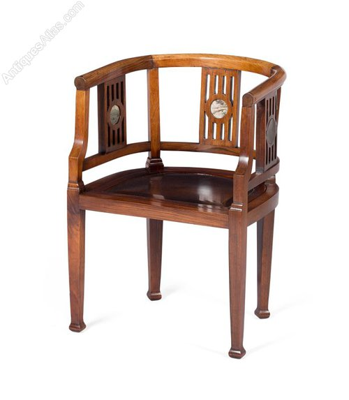 Superieur Chinese Hongmu And Marble Horseshoe Chair