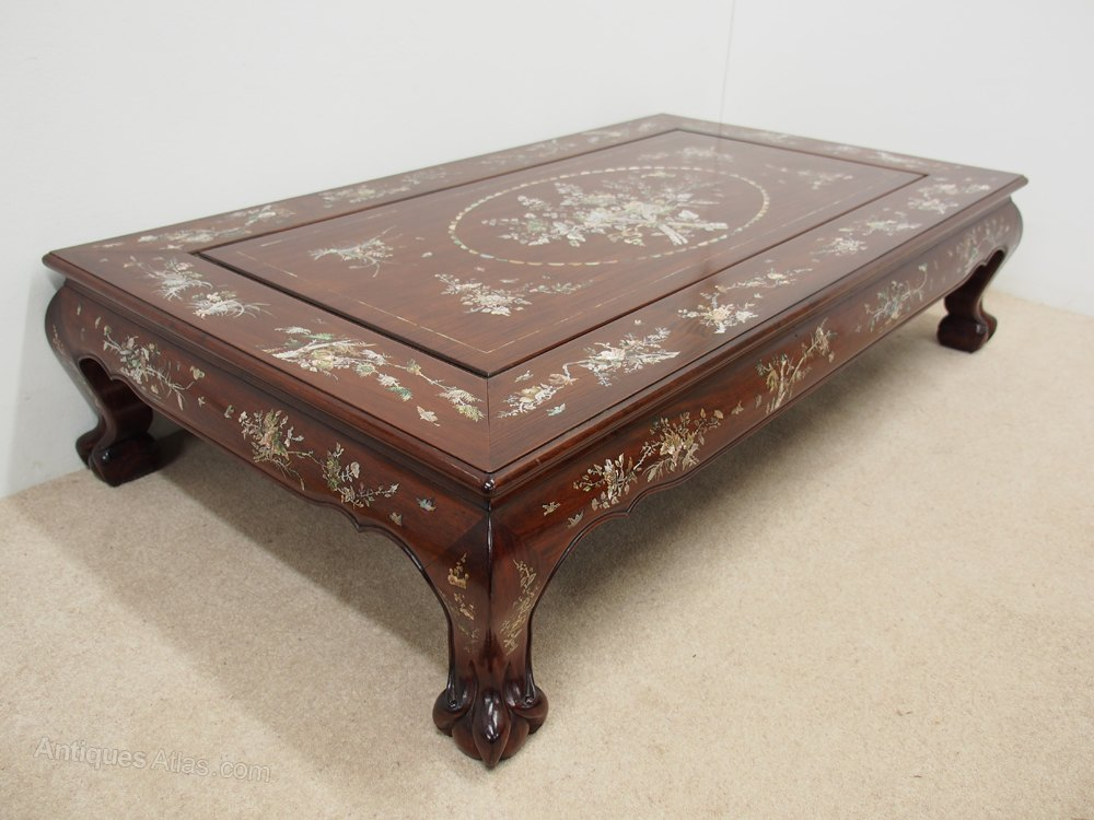 Chinese Rosewood And Mother Of Pearl Inlaid Coffee Table Antique Tables