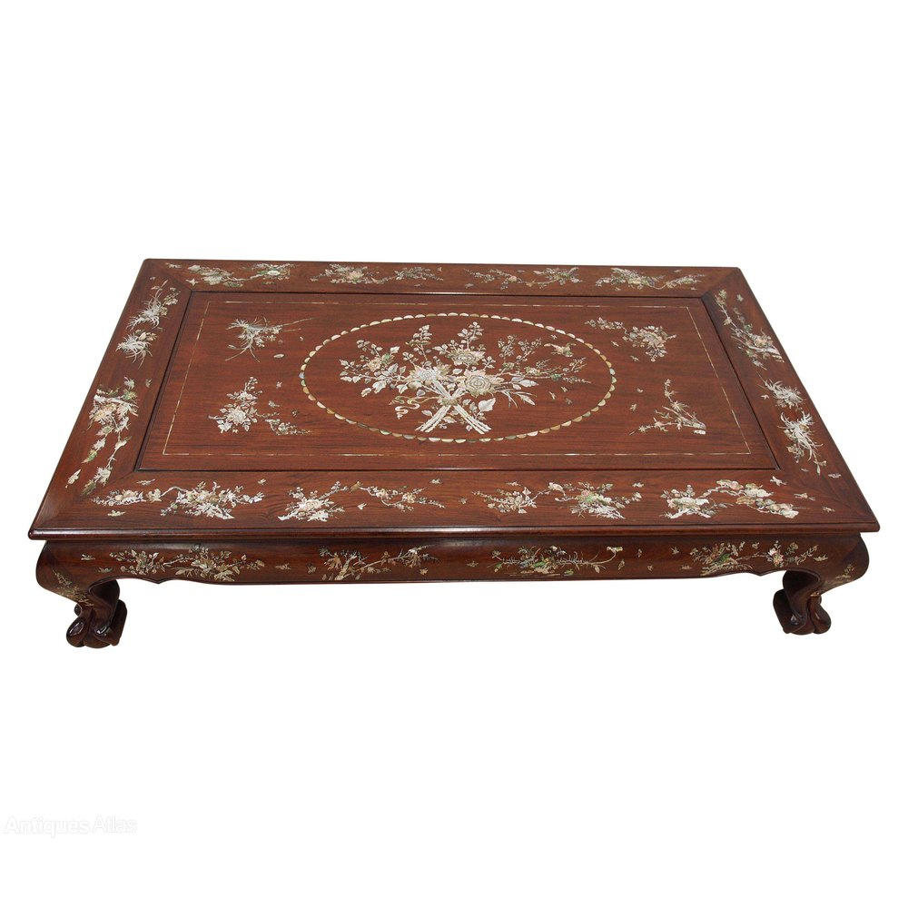 Chinese Rosewood And Mother Of Pearl Inlaid Coffee Table