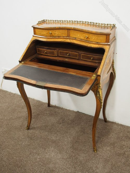 French Marquetry Inlaid Walnut Ladies Desk Antiques Atlas