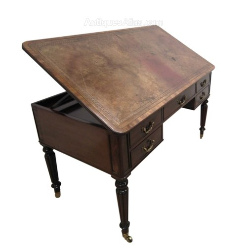 George IV Mahogany Writing Table/Architects Desk - George IV Mahogany Writing Table/Architects Desk - Antiques Atlas