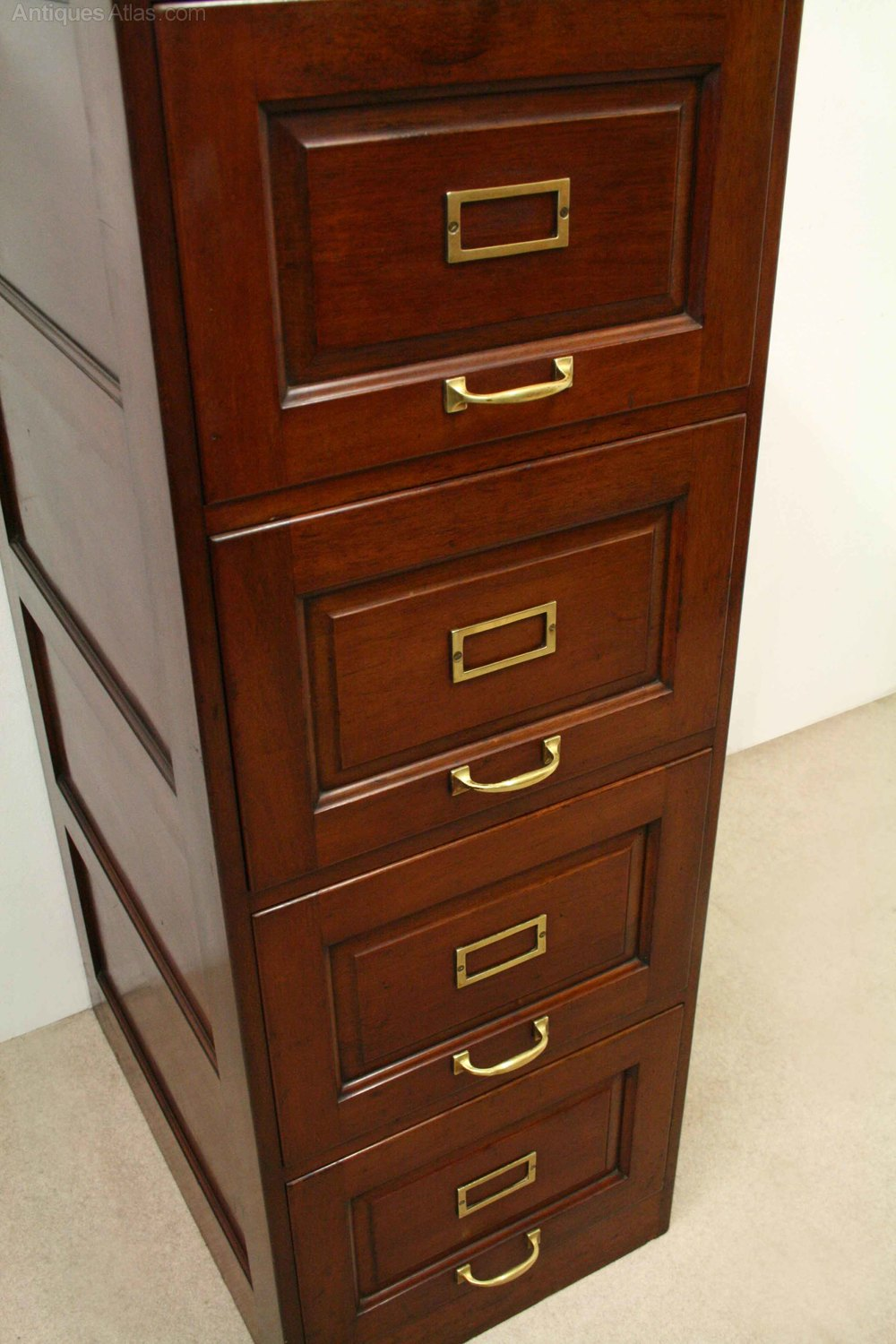 Sporting Antique Slim Oak Tambour Filing Cabinet Cabinets Edwardian (1901-1910)