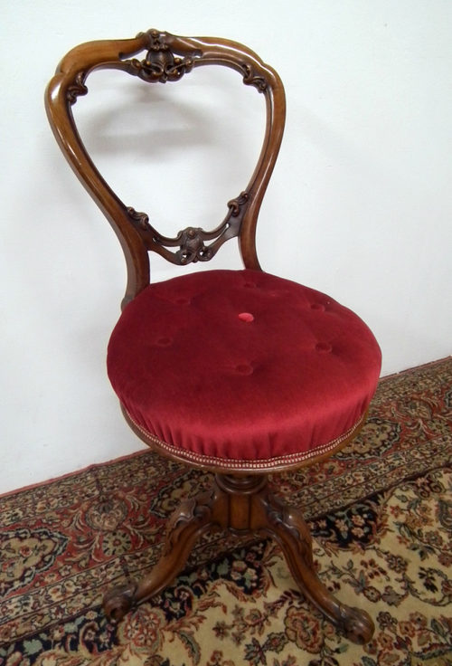 Mid Victorian Revolving Piano Chair/Harpist Stool Antique ... - Mid Victorian Revolving Piano Chair/Harpist Stool - Antiques Atlas