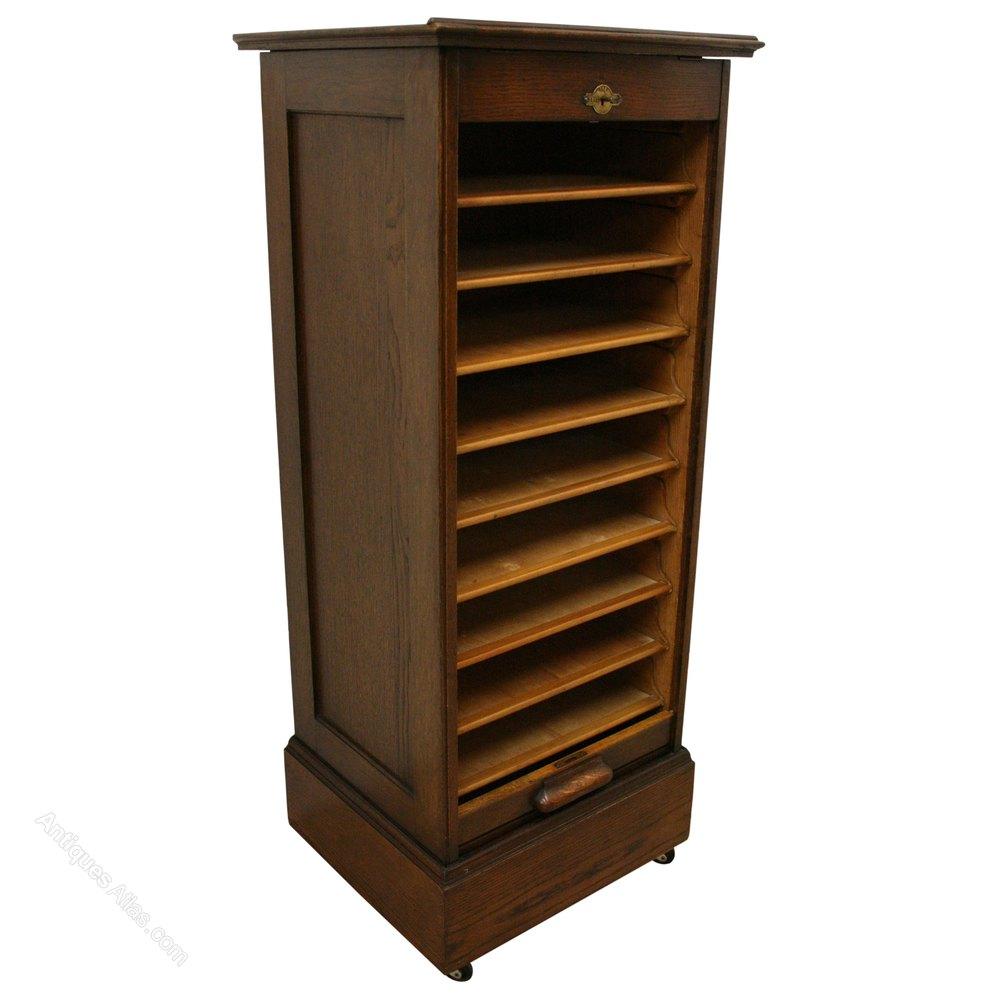 Oak Lebus Filing Cabinet Music Cabinet Antique Tambour Cabinets ...
