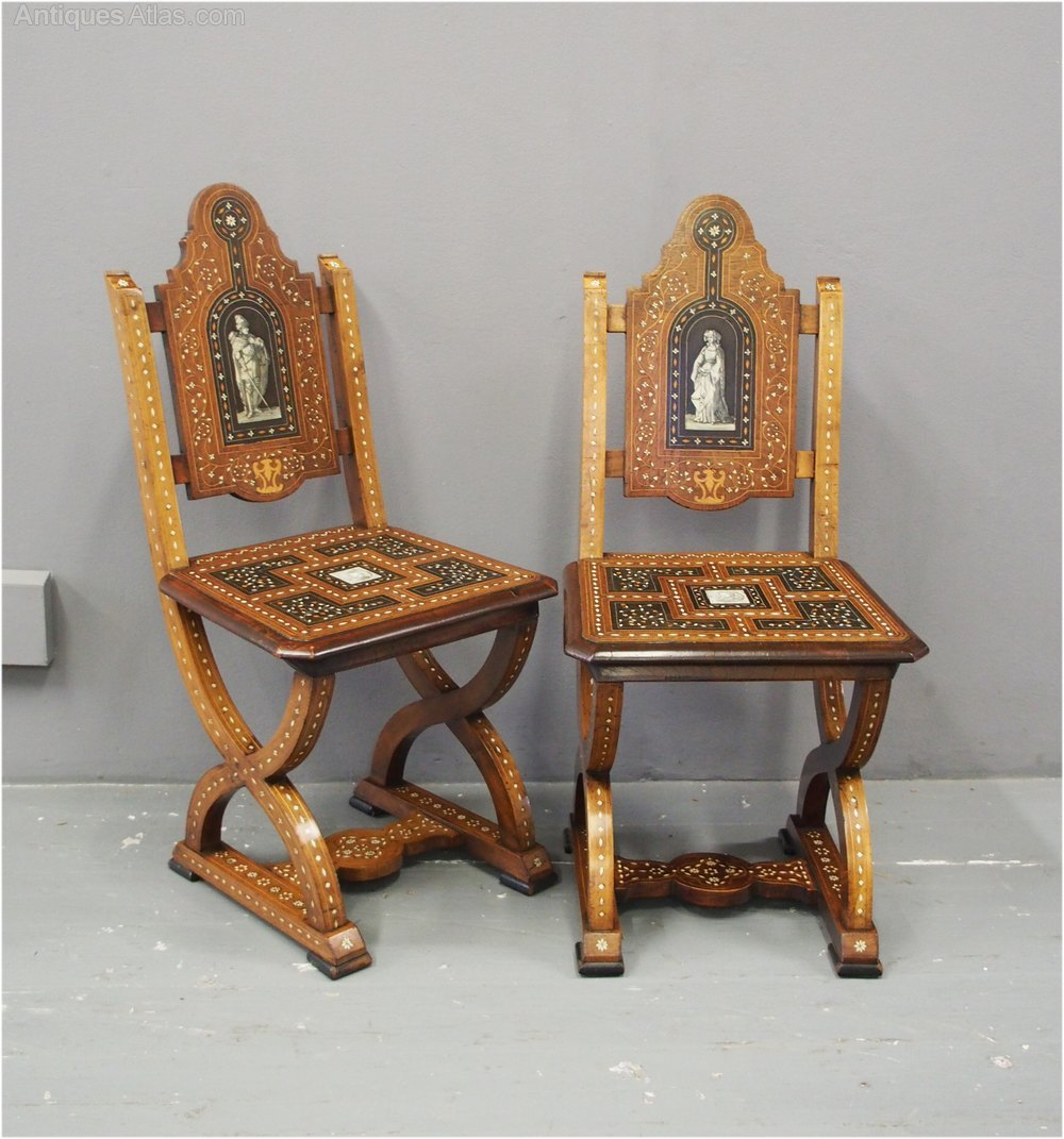 Pair Of Italian Renaissance Style Hall Chairs Antiques Atlas