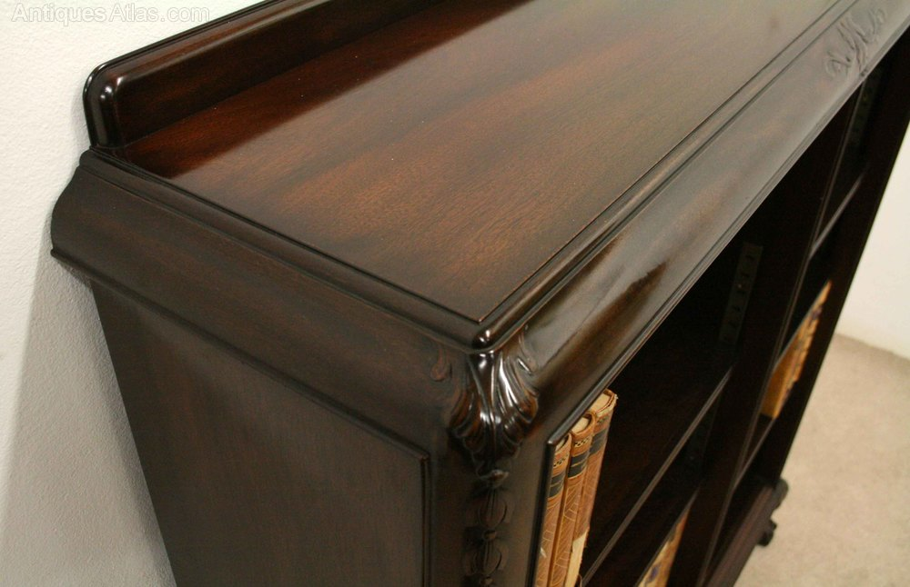 scottish carved mahogany open bookcase   antiques atlas