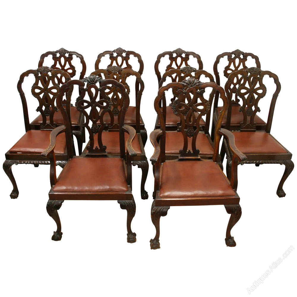 Set of 10 chippendale style mahogany dining chairs for Chinese antique furniture melbourne