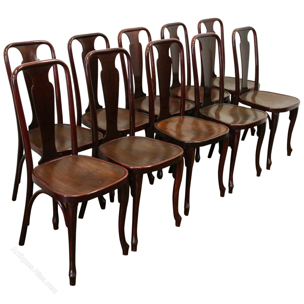 Antique thonet bentwood chair - Set Of 10 Thonet Bentwood Chairs